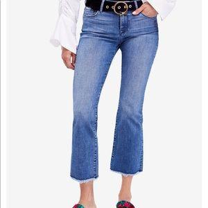 Free people raw hem straight crop jeans  new